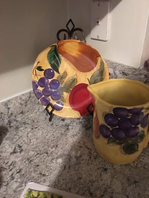 Pitcher with matching plate and stand for Sale in Apex, NC