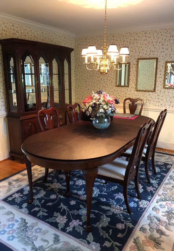 Cochran S Dining Room Table And China Cabinet 6 Chairs 2 With Arms