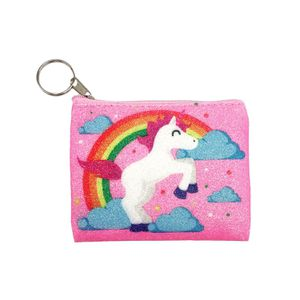 Photo Kids Girls Shining Unicorn Zipper Coin Purse Wallet