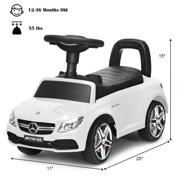 AMG Mercedes Benz Licensed Kids Ride On Push Car with Music Horn and Storage in White