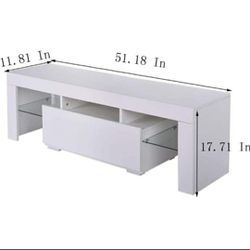"""Brand New 52"""" White TV Stand With LED light - Entertainment Center - TV Cabinet with Storage  Thumbnail"""