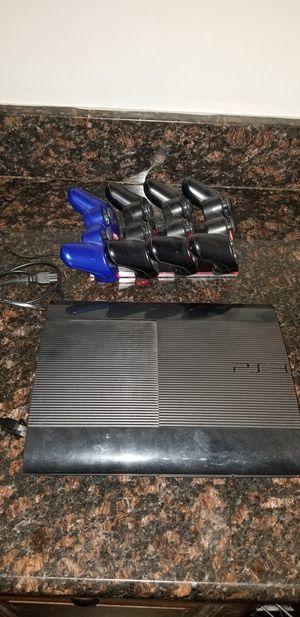 Ps3 super slim bundle w/ 4 controllers & 40 games for Sale in Bristow, VA