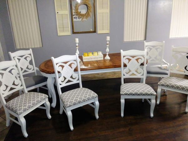 Beautiful two toned formal white and grey gray dining table mesa comedor  shabby chic white french country provincial distressed set farmhouse for  Sale ...
