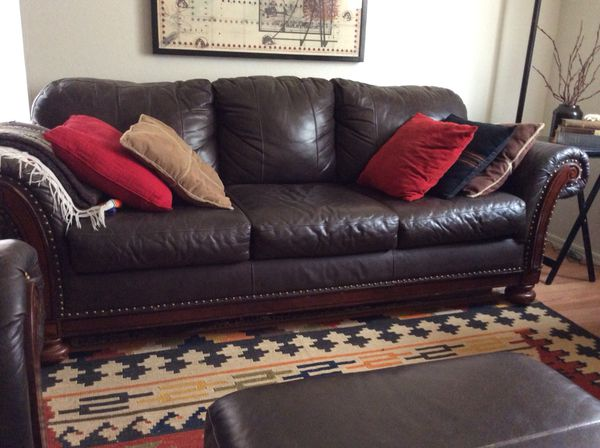 Beautiful Brown Leather Sofa and Two Armchairs + Ottoman, Nailhead ...