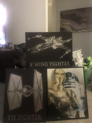 3 Star War Pictures - Tie Fighter, X -Wing Fighter, CP-30, R2-DT Fun Pictures for Sale in Pittsburgh, PA