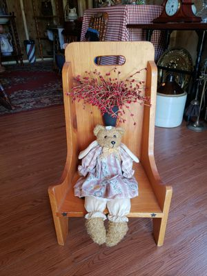 Angel bear and wooden chair for Sale in Farmville, VA