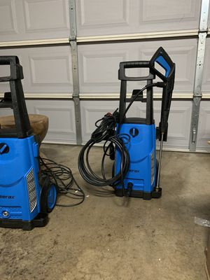Photo New Merax 1800PSI 1.3GPM Electric Pressure Washer, Compact Power Washer with Metal Spray Wand, 20-Foot Hose and Removable Detergent Tank (Royal Blue)