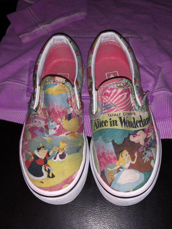 24edbced63 Disney Princess Vans Slip-On Alice in Wonderland Kids shoes 10.5 sweater  combo