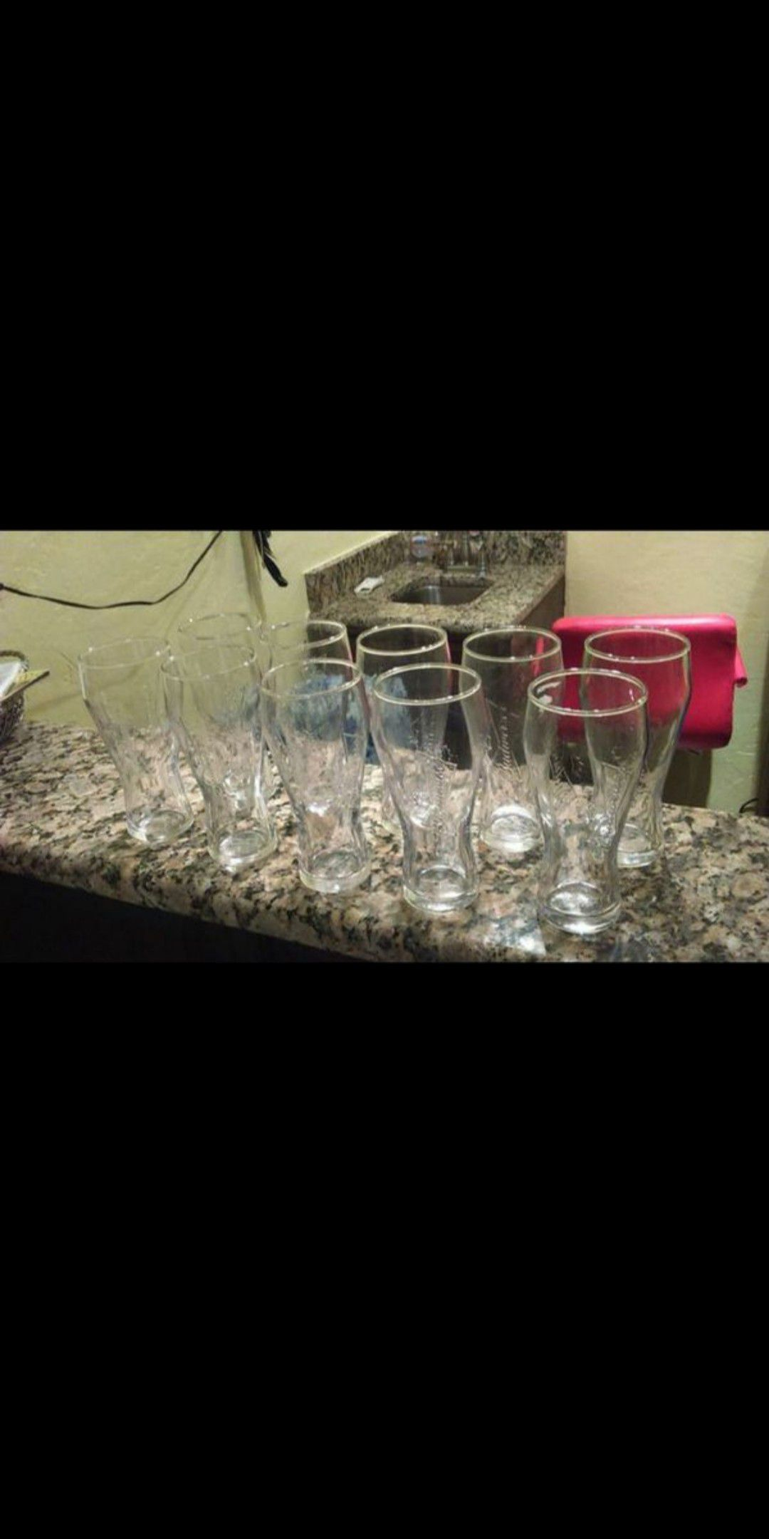 10 - 16 oz. Budweiser Bowtie Logo Embossed Glasses