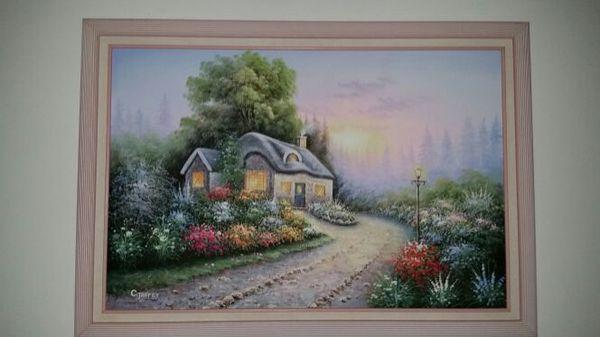 Original Oil Painting By C Jaffey Thomas Kincade Inspired