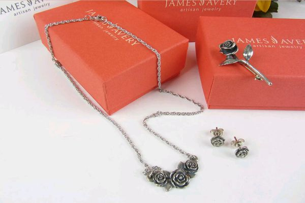 James Avery Sterling Silver 925 Rose Blossom Necklace Earrings Retired Rose Pin Set Excellent Condition For Sale In Katy Tx Offerup
