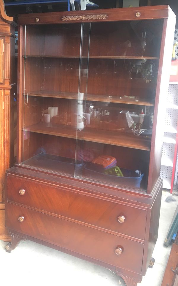 Antique Hutch Chest Of Drawers Glass Doors Adjustable Shelving For