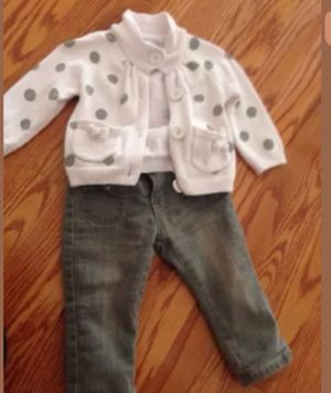 Baby girl 18 months - 24 months outfit polka dot and jeans for Sale in Arlington, VA