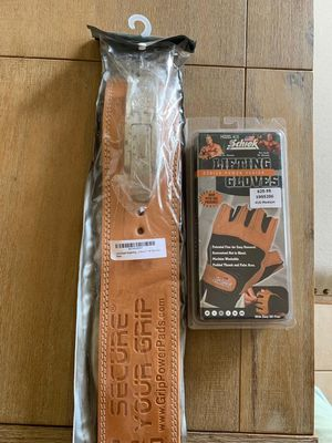 Gym equipment brand new never used, genuine leather handmade 13mm thick lifting belt / 415 Power Series Lifting Gloves for Sale in Miami, FL