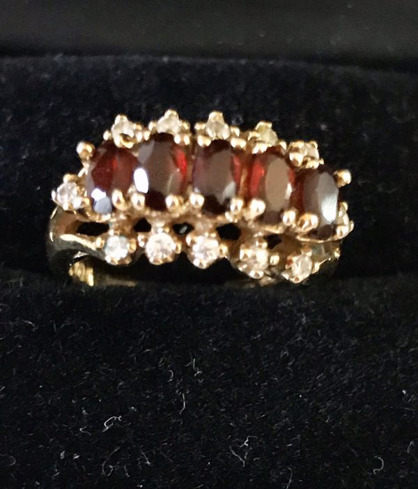 White Brick Baldwin Park S Design: Vintage 14K HGE Garnet And White Sapphire Ring For Sale In
