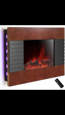 AKDY 36 in. Wall Mount Electric Fireplace Heater in Wooden Brown with Tempered Glass, Pebbles, Logs and Remote Control Thumbnail