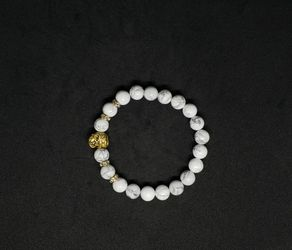 *.NATURAL Charged Howlite Bracelet (Known For:   reduce stress, anger, pain & depression) Thumbnail