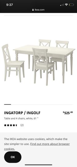 IKEA Dinning table with 4 chairs (extendable table) Thumbnail