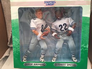 Photo Dallas Cowboys: 12 Troy Aikman & Emmitt Smith Starting Lineup figures. 1997 Edition.
