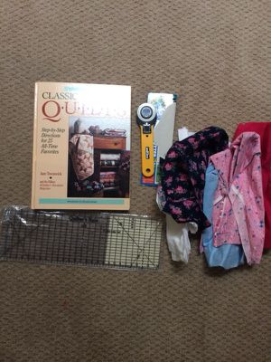 Classic Country Quilts Hardcover Book, quilters rile, fabric cutter, and scrap fabric. Book alone for 20. Whole set for 30 for Sale in Fairfax Station, VA
