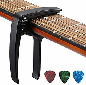 Photo Guitar Capo Trigger with 3pcs Guitar Picks Single Hand Use Quick Change Aluminum Alloy Black Capos for Classical Acoustic Electric