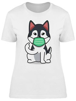 Smartprints Husky With A Facemask Design Tee Women's -Image by Shutterstock White Size S Thumbnail