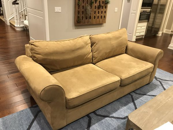 Pottery Barn Pearce Sofa In Everyday Suede Nutmeg
