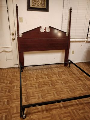 Like new solid wood queen/full size headboard in great condition with metal box spring base, pet free smoke free. for Sale in Annandale, VA