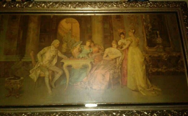 Reprint Of A Classical Painting By Francesco Beda Named Chess Game