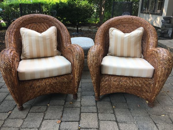 Pottery Barn Malabar Wicker Chairs For Sale In Naperville