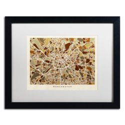 Michael Tompsett 'Manchester England Street Map II' Black Wooden Framed Art 18 x 22 Inches Thumbnail