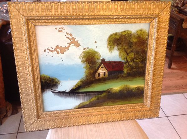 19th Century Reverse Glass Painting In Carved Gilt Gesso Frame For
