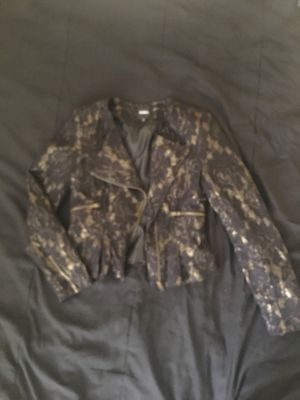 XOXO Gold underlay black lace Moto jacket (size small) for Sale in Washington, DC