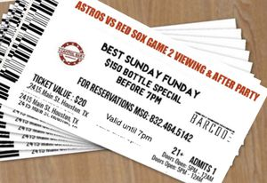 Game 2 Astros vs Red Sox Viewing party free admission tickets for Sale in Houston, TX