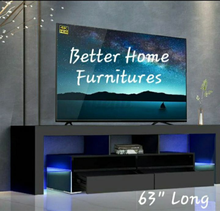 """Brand New 63"""" Tv Stand, Entertainment Stand, TV console With remote control L.E.D Lights."""