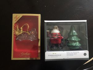 Christmas salt and pepper set and crystal Santa car ornament for Sale in Fairfax Station, VA