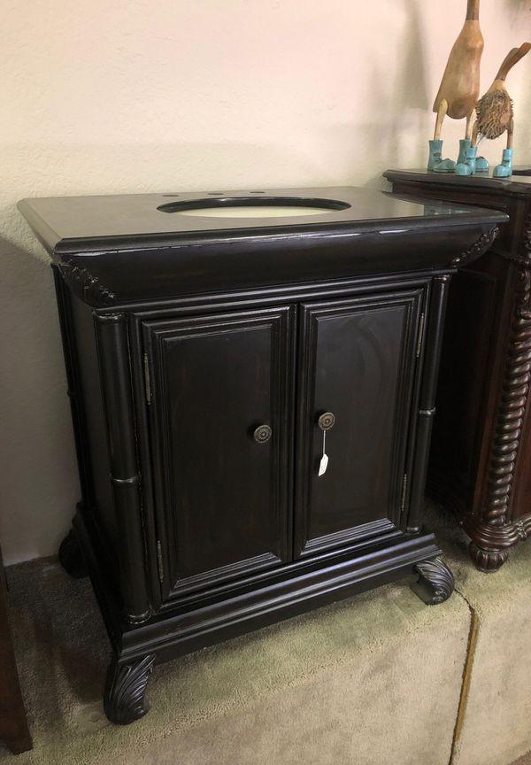 """33"""" Granite Top Bathroom Vanity Distressed Black for Sale ..."""