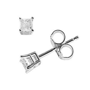 14k White Gold 1/5 ct princess cut Diamond Solitaire Earrings for Sale in Martinsburg, WV
