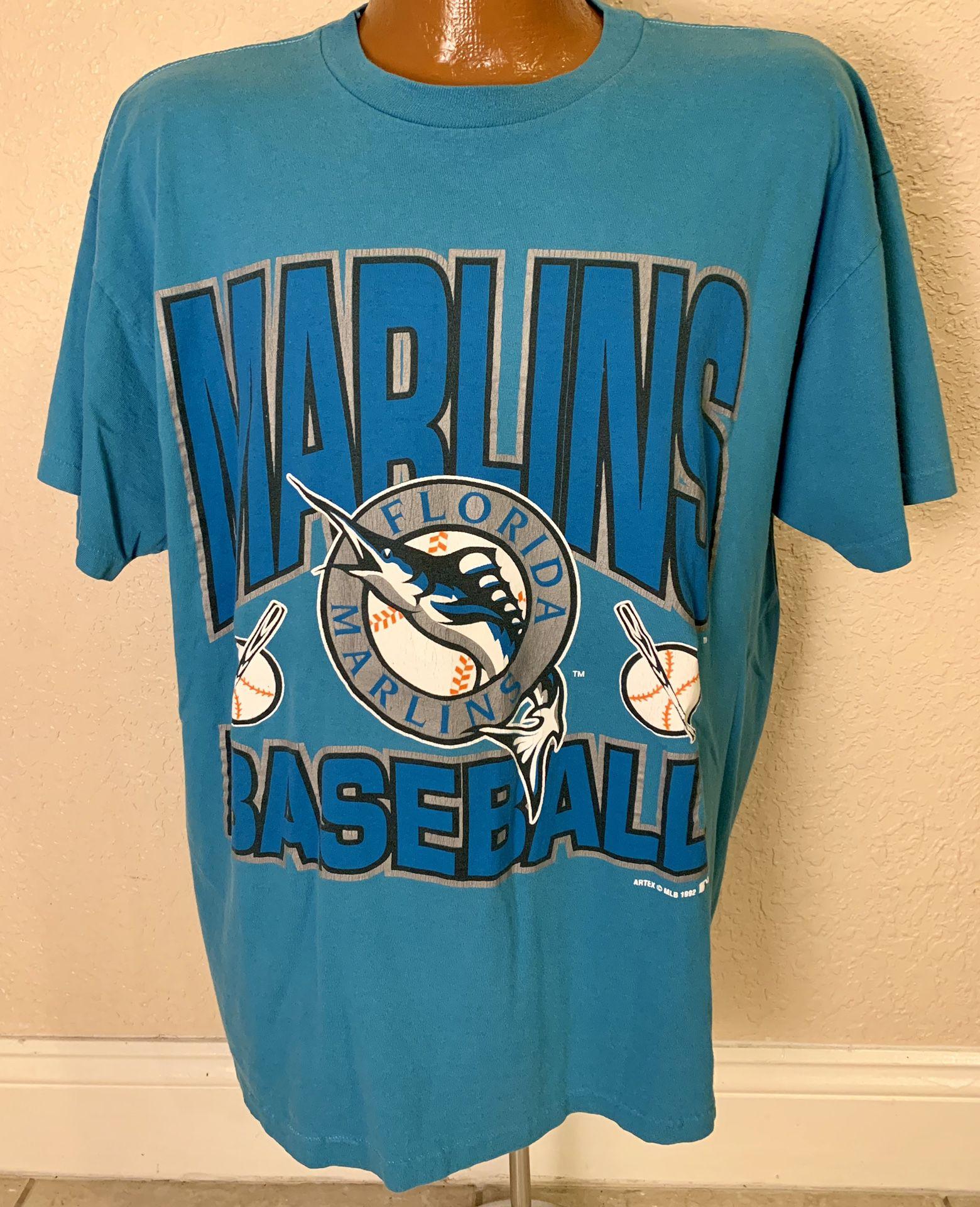 MLB. Vintage 1992 Florida Marlins Baseball Single Stitch T-shirt. Size XL (Fits LG). Good condition. See pics.