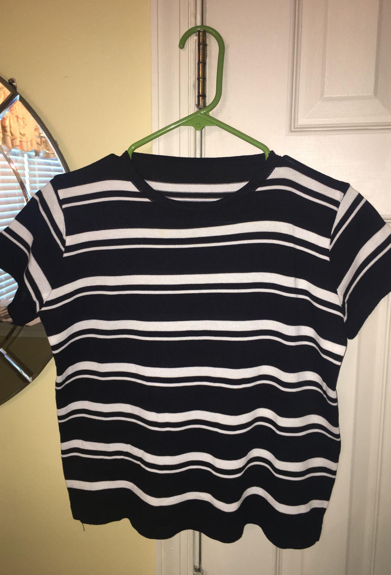 black and white stripe set womens M