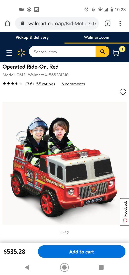 BRAND NEW Kid Motorz Fire Engine 2-Seater 12-Volt Ride-On in Red