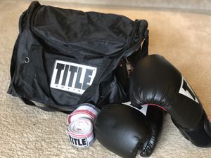 TITLE boxing bag, gloves, and straps for Sale in Fairfax, VA