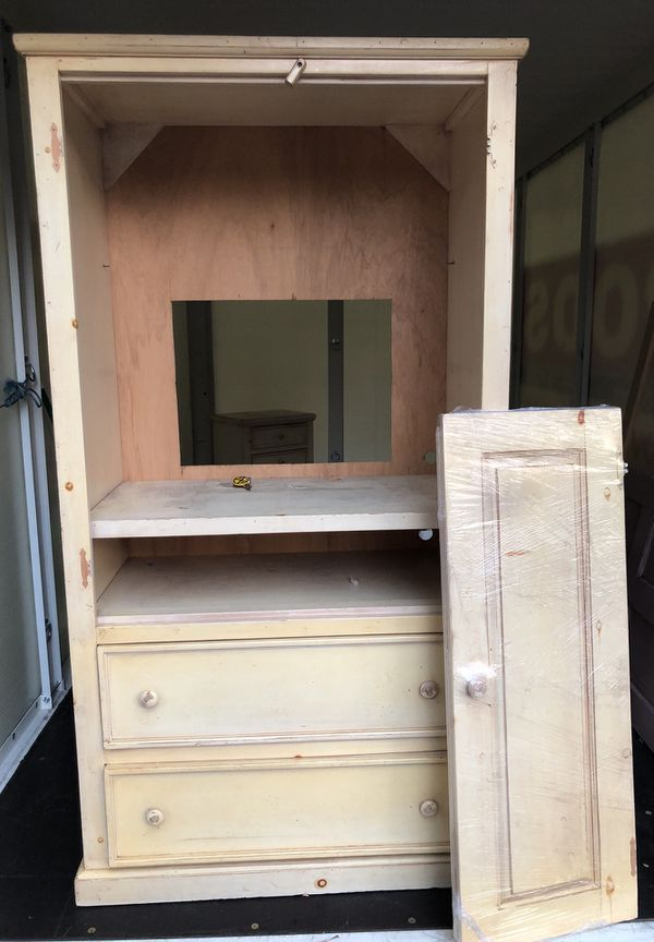 Armoire, Night stand and antique door headboard (Furniture) in Oceanside,  CA - OfferUp - Armoire, Night Stand And Antique Door Headboard (Furniture) In