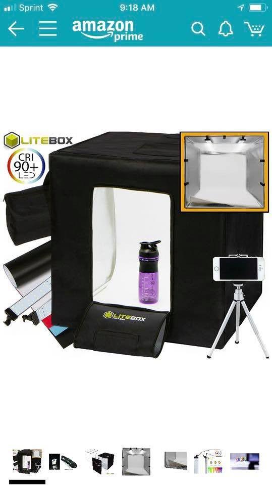 """LITEBOX Pro-240: Large 24"""" x 24"""" LED Photo Studio Lighting Kit in a Box - 4 Seamless PVC Backdrops"""