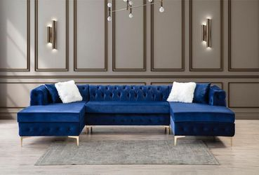Lydia Velvet Navy Double Chaise Sectional  Sofa 💫BRAND NEW💫 BUY ONLINE SAME DAY DELIVERY!  Thumbnail