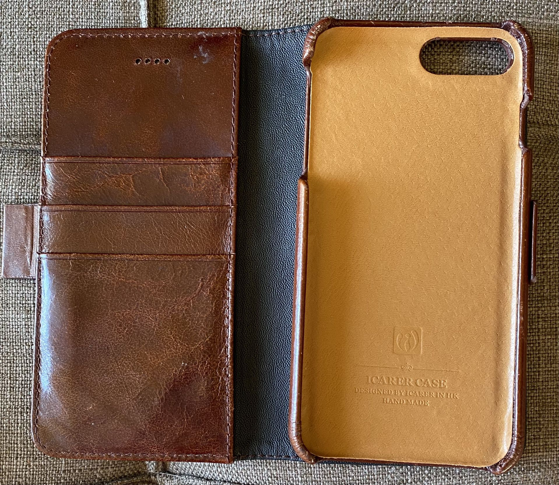 7 Plus or 8 Plus Brown Leather Cover/Wallet