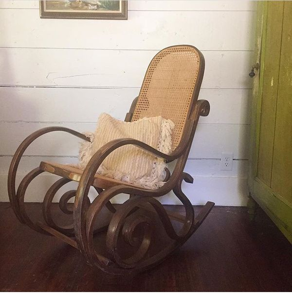 Cool Mid Century Vintage Bentwood Rattan Rocking Chair For Sale Gmtry Best Dining Table And Chair Ideas Images Gmtryco