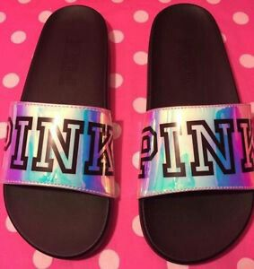 7adf22d17f4a7 New Victoria's Secret Pink iridescent slides sandals size large 9-10 for  Sale in Brea, CA - OfferUp