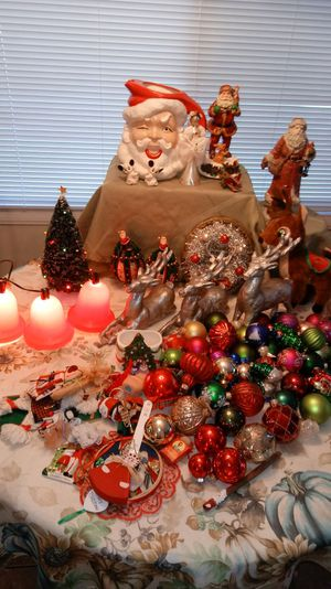 lots of christmas decorations and xmas ornaments vintage santa pitcher vintage christmas reindeer