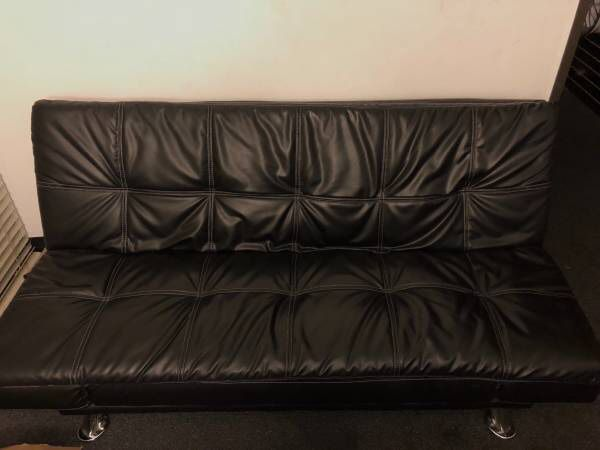 Black Leather Office Sofa Bed Futon Chair Couch for Sale in Anaheim ...